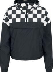 Dámska krátka oversize bunda s kockovaným vzorom