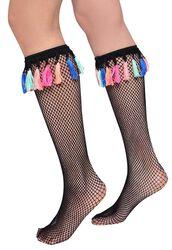 Sieťovinové ponožky Festival Wellie so strapcami
