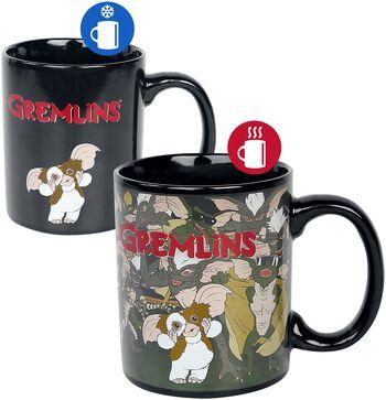 Hrnček Gremlins s potlačou, ktorá sa pod vplyvom tepla mení