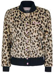 Bunda z imitácie leopardej kožušiny