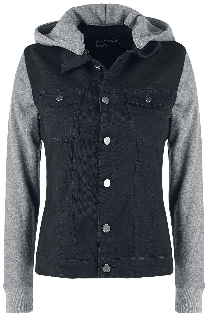 9619f546a Dámska denimová bunda s teplákovými rukávmi a kapucňou | Forplay Prechodné  bundy | EMP