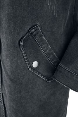 Čierna denimová bunda s teplákovou kapucňou