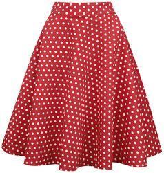 Bodkovaná kruhová sukňa s vysokým pásom Shirley