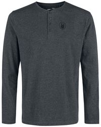 Mottled Grey Long-Sleeve Top with Buttons
