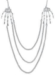 Strieborný náhrdelník s kostnatými rukami a retiazkami