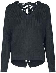 Dámsky sveter so šnurovaním na chrbte
