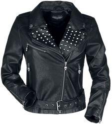 Čierna koženková bunda s nitmi