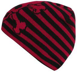 Červeno čierna prúžkovaná čiapka s lebkou