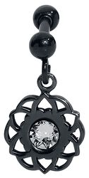 Black Mandala Flower Earbarbell