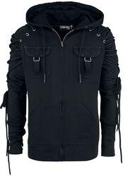 Čierna bunda s kapucňou a šnurovaním