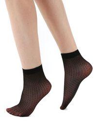 Priehľadné členkové ponožky s bodkami