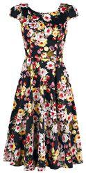 Čierne vintage kvetované spoločenské šaty v štýle 50. rokov s rozšírenou sukňou