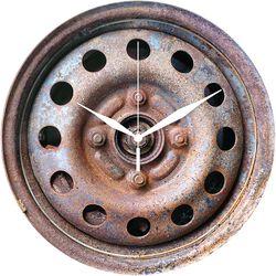 Sklenené nástenné hodiny Nástenné hodiny v tvare puklice na koleso