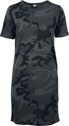 Dámske tričkové šaty s kamufláž vzorom