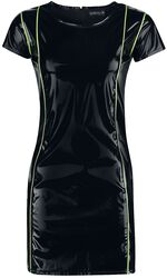 Čierne šaty s lakovaným vzhľadom s detailmi v neónovej farbe