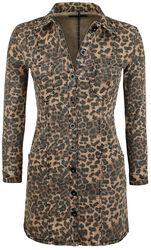 Denimové šaty s leoparďou potlačou