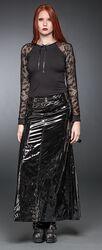 Dlhá lakovaná sukňa s opaskami