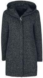 Melírovaný kabát s kapucňou