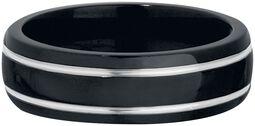 Čiernostrieborný titanový prsteň