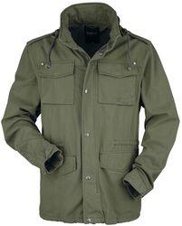 Prechodná military bunda v olivovo zelenej farbe