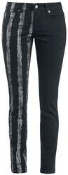 Strečové denimové nohavice s jednou prúžkovanou nohavicou