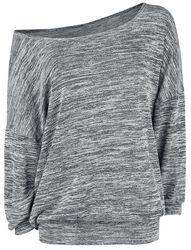 Oversized melírovaný sveter so širokým golierom