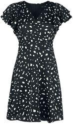 Saténové šaty Dalmatian s volánmi na rukávoch